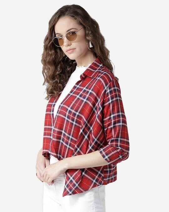 Shop Style Quotient Women Red & Navy Blue Checked Open Front Shrug-Design