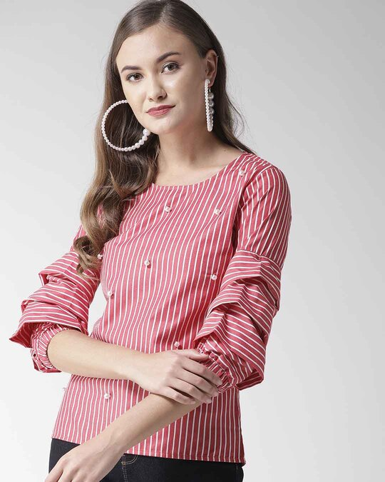 Shop Women Red & White Striped Top-Front