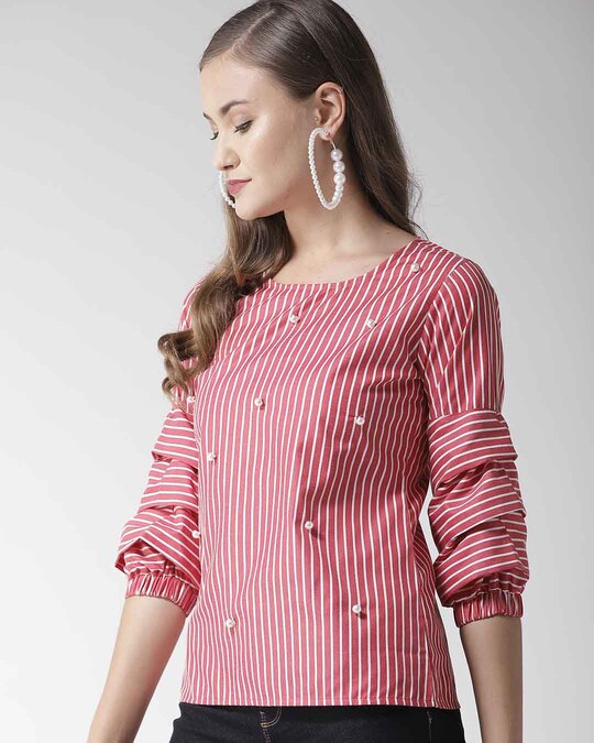 Shop Style Quotient Women Red & White Striped Top-Back