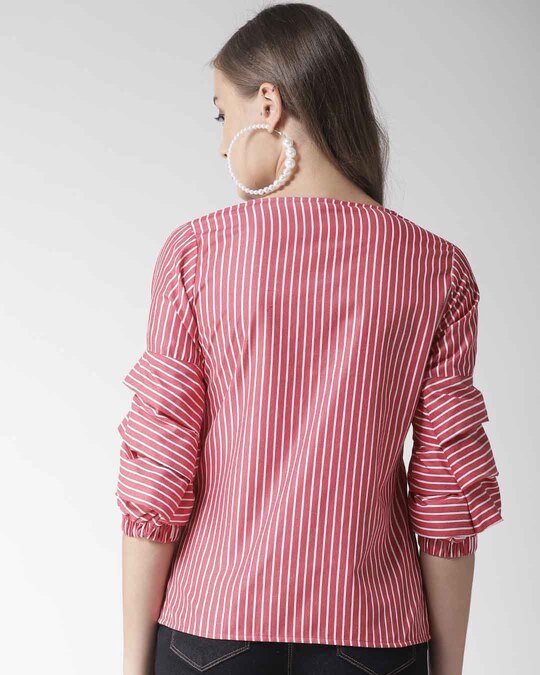 Shop Style Quotient Women Red & White Striped Top-Design