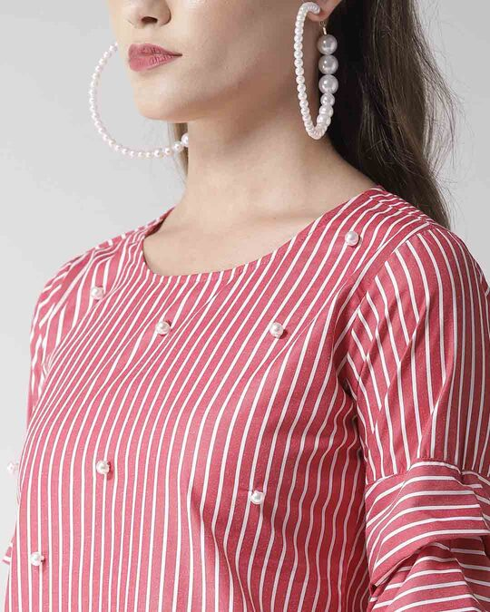 Shop Style Quotient Women Red & White Striped Top