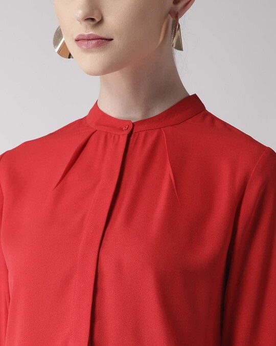 Shop Women Red Regular Fit Solid Casual Shirt-Back