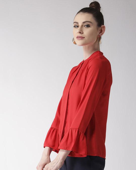 Shop Women Red Regular Fit Solid Casual Shirt-Design