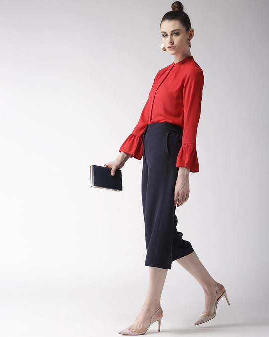 Shop Women Red Regular Fit Solid Casual Shirt