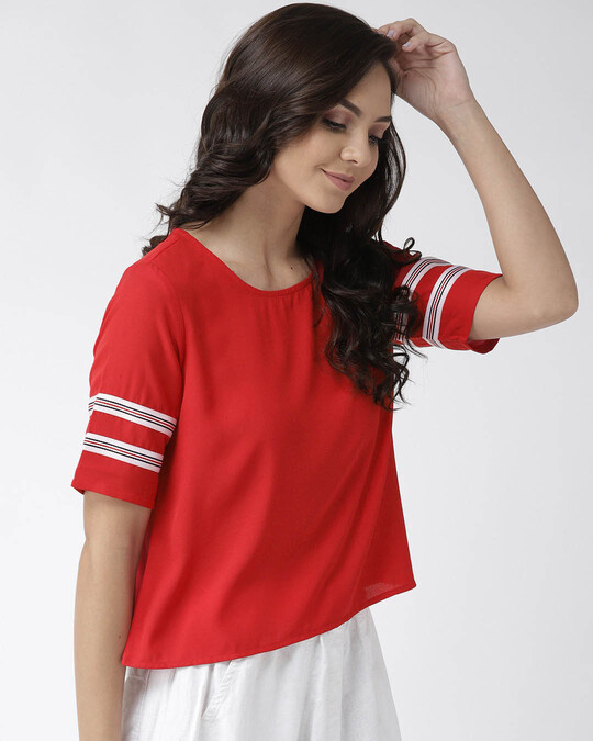 Shop Women Red Solid Top-Back