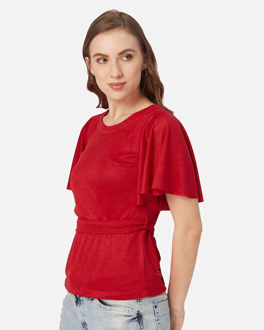 Shop Style Quotient Women Red Solid Top-Back