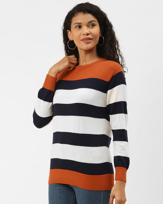 Shop Women Rust Orange & Navy Blue Striped Pullover Sweater-Back