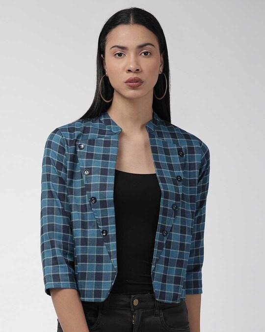 Shop Women Teal Blue & Beige Checked Lightweight Tailored Jacket-Front