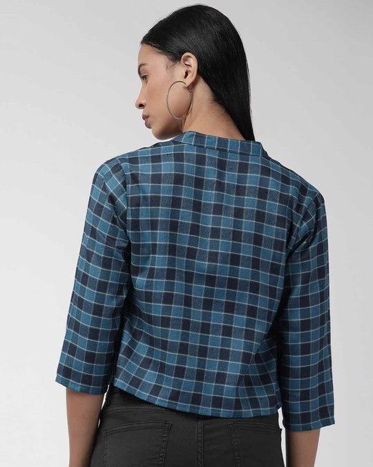 Shop Women Teal Blue & Beige Checked Lightweight Tailored Jacket-Design