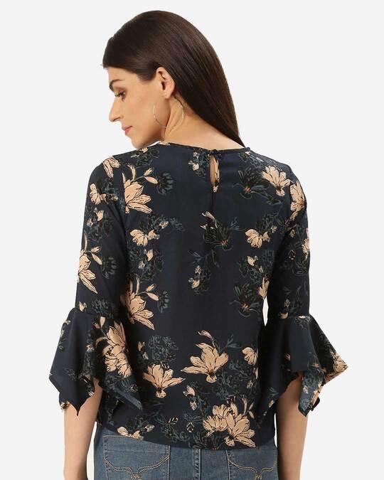 Shop Style Quotient Women Teal Blue & Beige Floral Printed Top-Design