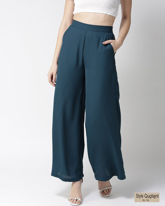 Shop Women Teal Blue Loose Fit Solid Parallel Trousers-Front