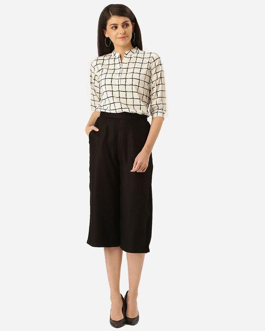 Shop Style Quotient Women White & Black Checked Blouson Top-Full