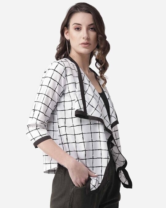 Shop Style Quotient Women White & Black Checked Waterfall Shrug-Design