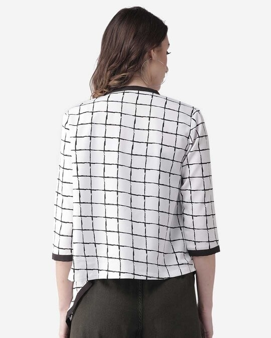 Shop Style Quotient Women White & Black Checked Waterfall Shrug-Full