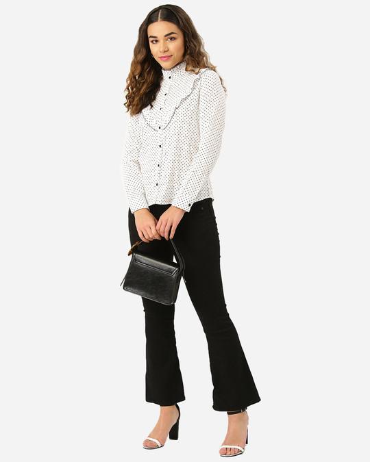 Shop Women White & Black Polka Dot Print Casual Shirt-Full