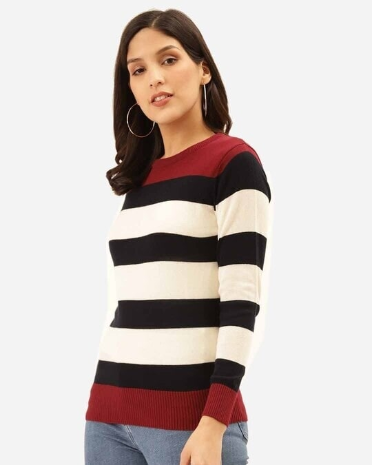 Shop Women White & Black Striped Pullover-Back