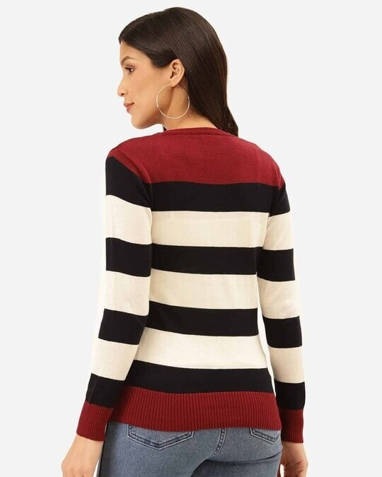 Shop Women White & Black Striped Pullover-Design