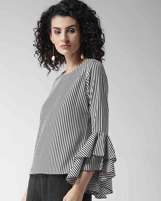 Shop Style Quotient Women White & Black Striped Top-Back