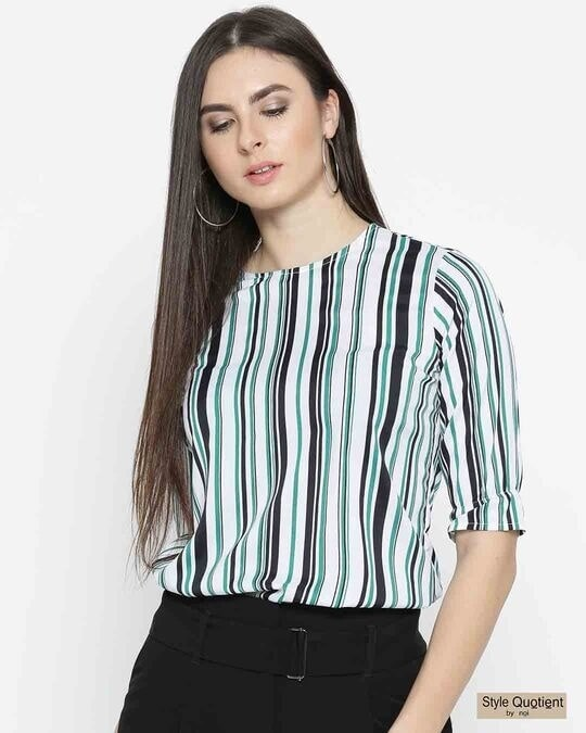 Shop Style Quotient Women White & Green Striped Top-Front