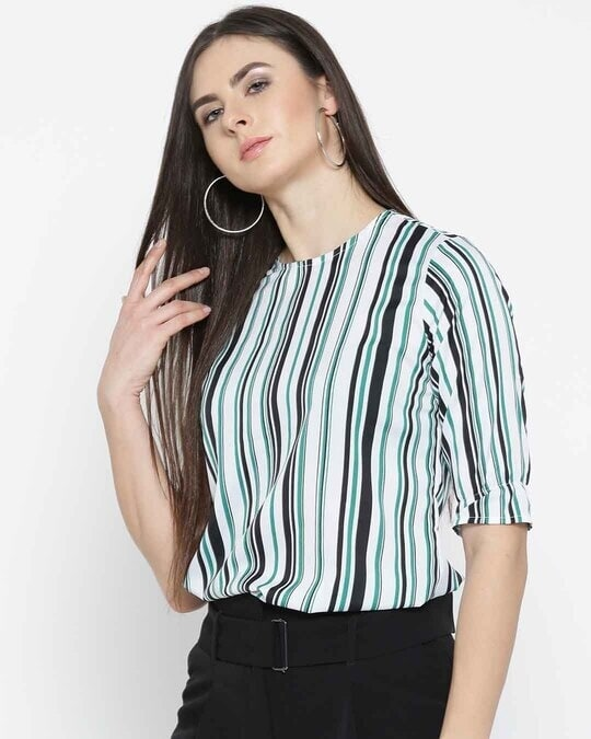 Shop Style Quotient Women White & Green Striped Top-Back