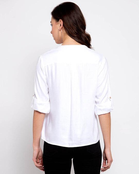 Shop Women White Boxy Solid Casual Shirt-Design