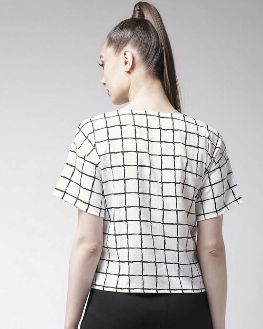 Shop Women White Checked Top-Design