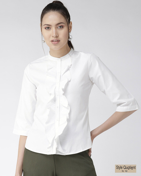 Shop Women White Classic Regular Fit Solid Casual Shirt-Front