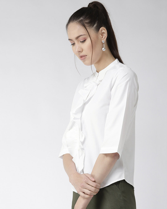 Shop Women White Classic Regular Fit Solid Casual Shirt-Back