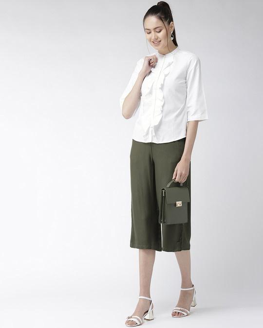 Shop Women White Classic Regular Fit Solid Casual Shirt-Full