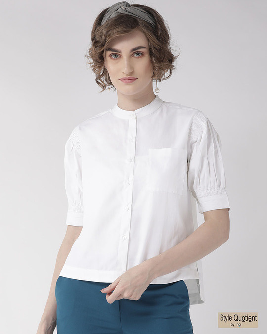 Shop Women White Comfort Boxy Solid Formal Shirt-Front