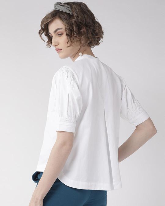 Shop Women White Comfort Boxy Solid Formal Shirt-Design