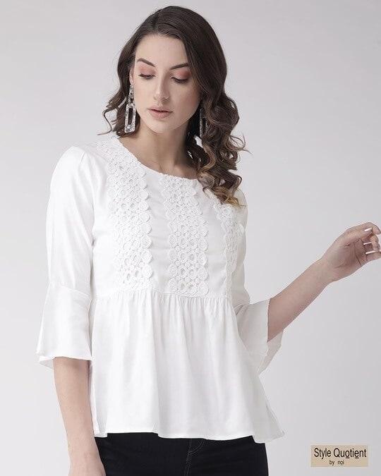 Shop Women White Lace Detail A Line Top-Front