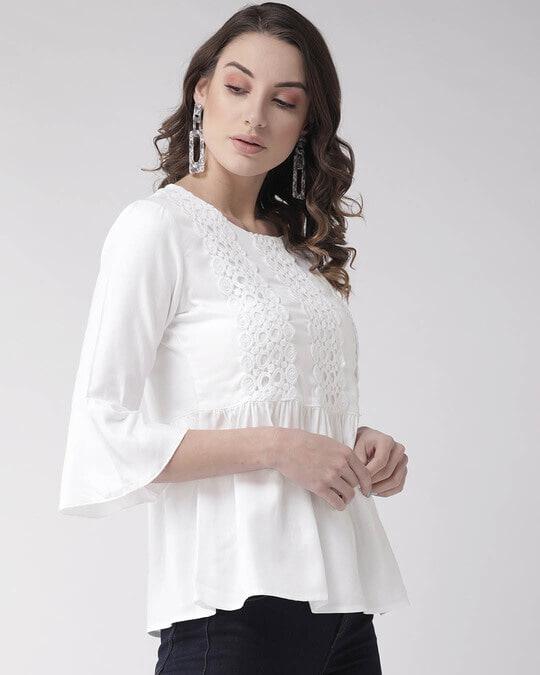 Shop Women White Lace Detail A Line Top-Back