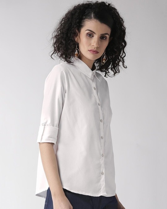 Shop Women White Regular Fit Solid Casual Shirt-Design