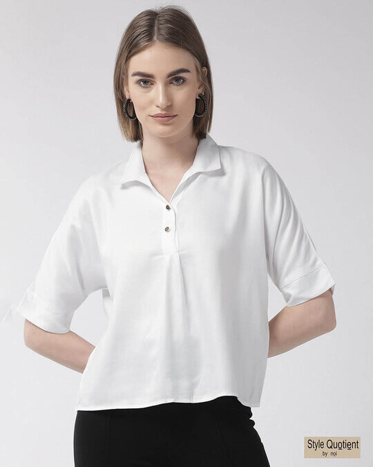 Shop Style Quotient Women White Regular Fit Solid Casual Shirt-Front