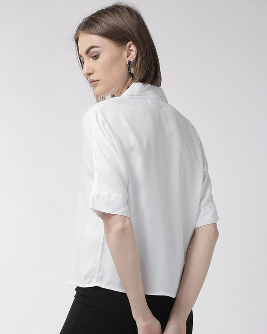 Shop Style Quotient Women White Regular Fit Solid Casual Shirt-Design