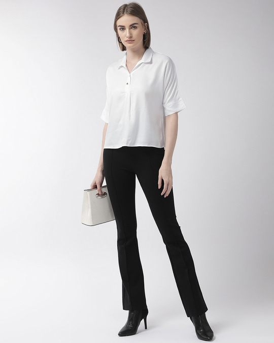 Shop Style Quotient Women White Regular Fit Solid Casual Shirt-Full