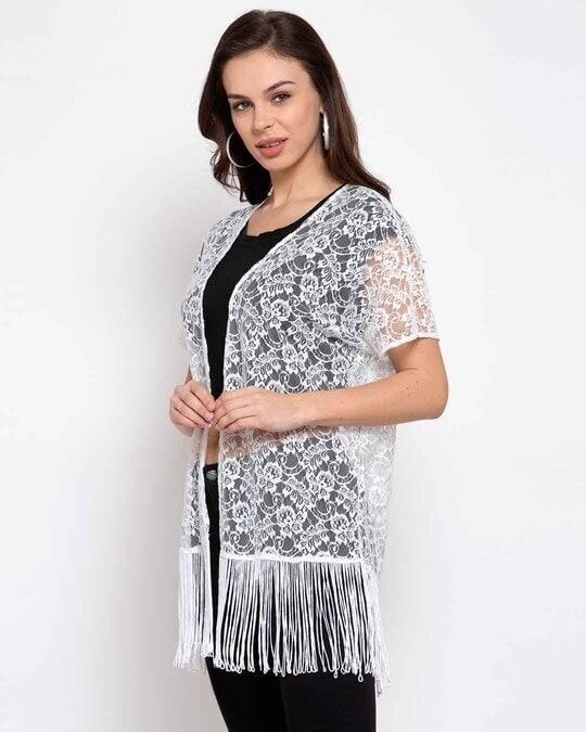 Shop Women White Self Design Open Front Shrug-Back