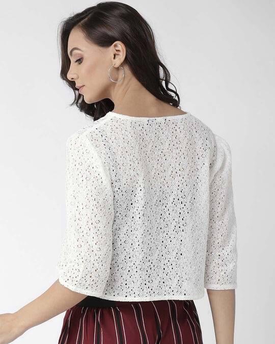 Shop Women White Self Design Open Front Shrug-Design