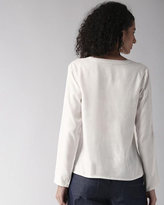 Shop Women White Solid Top-Design