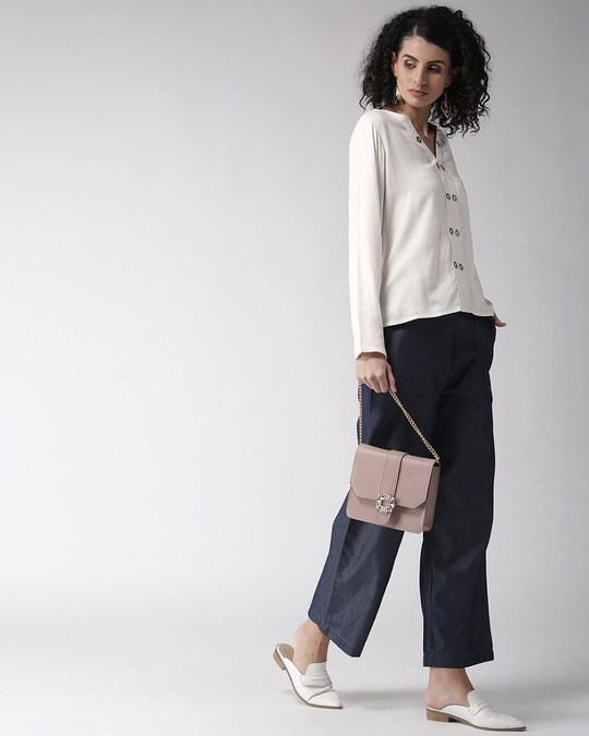 Shop Women White Solid Top-Full