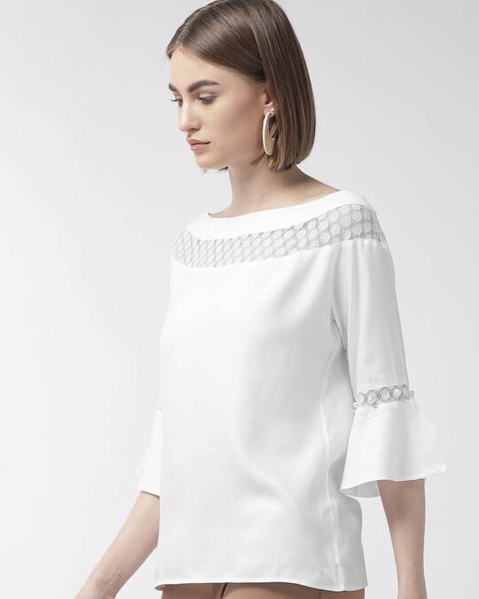 Shop Style Quotient Women White Solid Top-Back