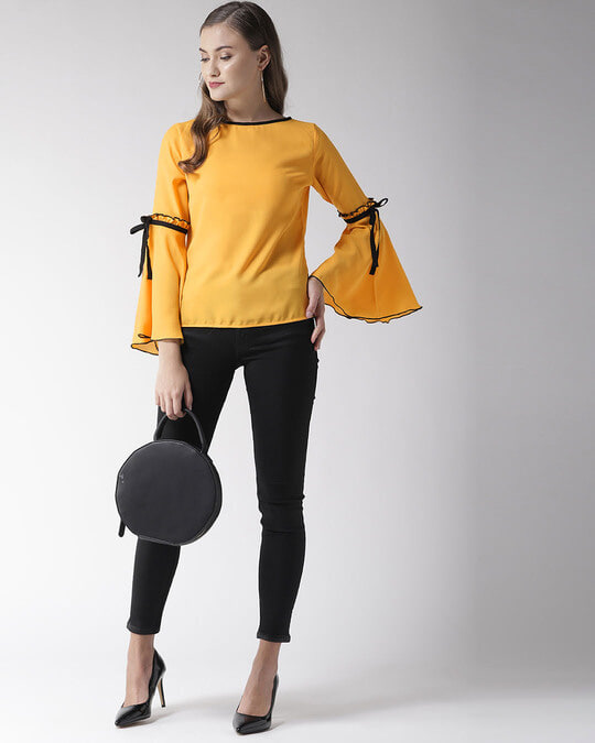 Shop Style Quotient Women Yellow Solid Top-Full