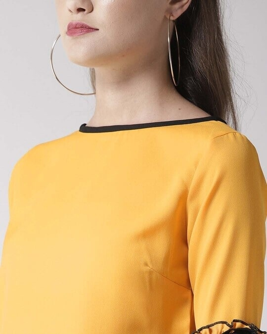 Shop Style Quotient Women Yellow Solid Top