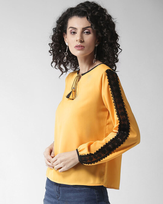 Shop Style Quotient Women Yellow Solid Top-Back