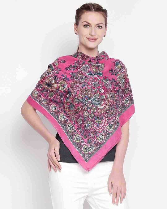 Shop Womens Cotton Pink Scarf-Front