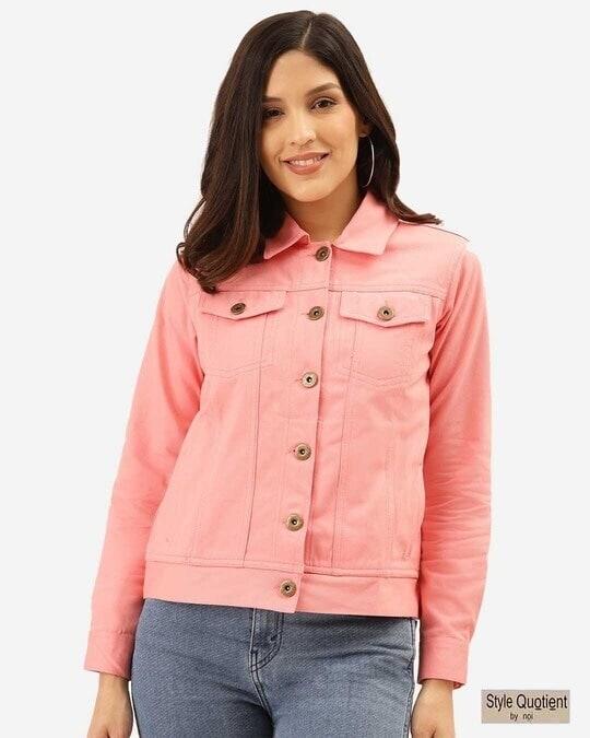 Shop Womens Pink Denim Jacket-Front
