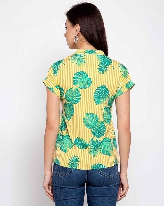Shop Womens Yellow & Green Tropical Printed Casual Shirt-Back