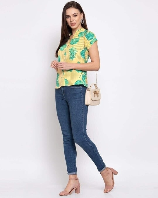 Shop Womens Yellow & Green Tropical Printed Casual Shirt