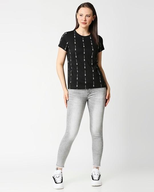 Shop Job Insanity All Over Printed Women Half Sleeve Black T-Shirt-Full